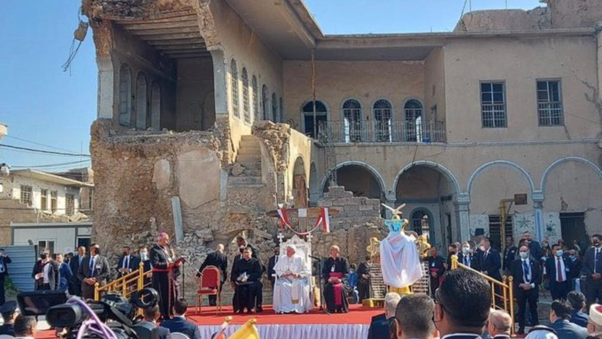 محافظ نينوى: دول عرضت المساعدة في إعادة إعمار الموصل بعد زيارة البابا
