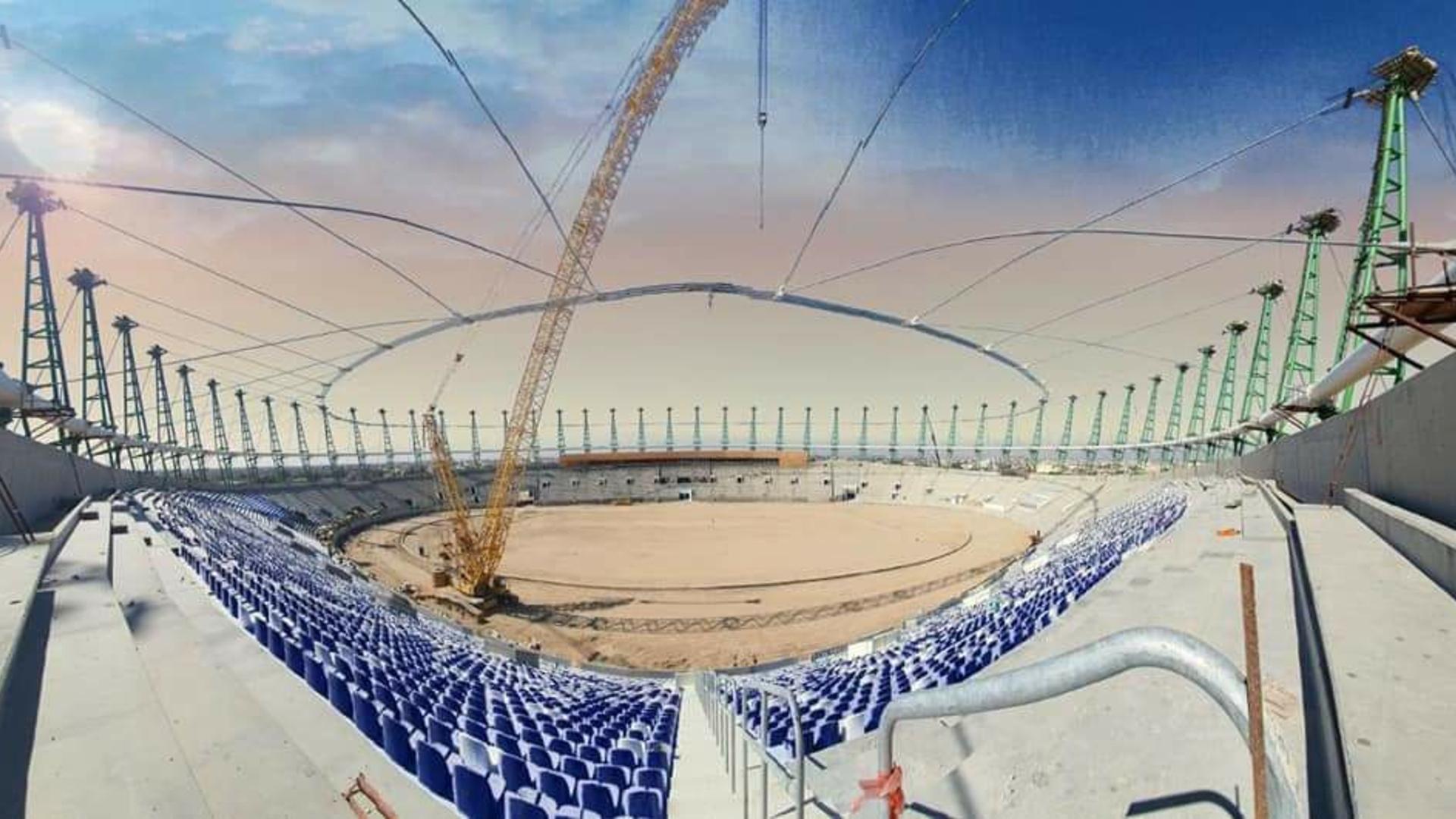 ملعب الميناء الأولمبي يصل نسبة إنجاز متقدمة
